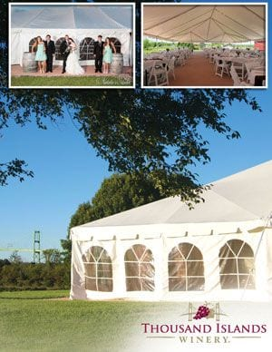 WINERY EVENT TENT  Donated by: THOUSAND ISLANDS WINERY  Valued at: $2,500  Buy It Now: $250