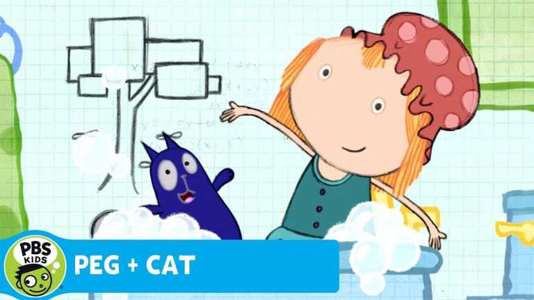 PEG + CAT | Math in the Bath – Vertical and Horizontal Cylinders | PBS KIDS