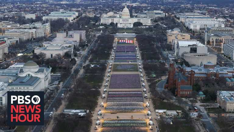 Public art installation offers unusual imagery for an inauguration without precedent