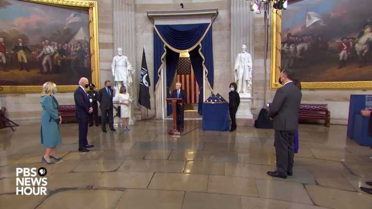 WATCH: McConnell presents flag flown over inauguration ceremony to Harris