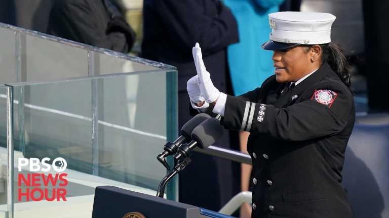 WATCH: Georgia fire captain leads Pledge of Allegiance at Biden inauguration