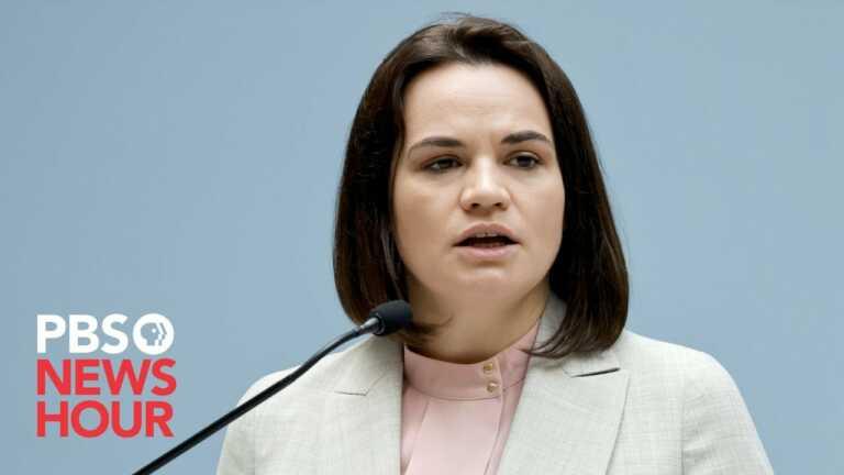 WATCH LIVE: Amna Nawaz interviews Belarusian opposition leader Sviatlana Tsikhanouskaya